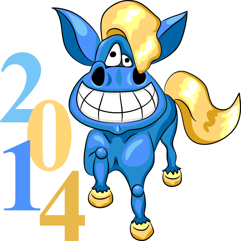 Blue 2014 Horse New Year Vector