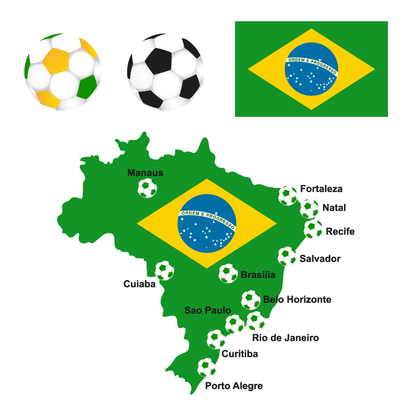 Brazilian Soccer Map Vector