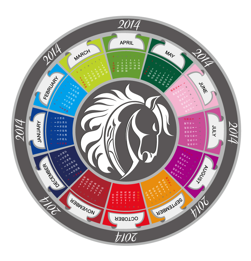 Calendar 2014 Disc Horse Vector