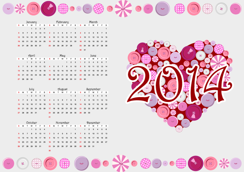 calendar 2014 heart button vector free vector graphic
