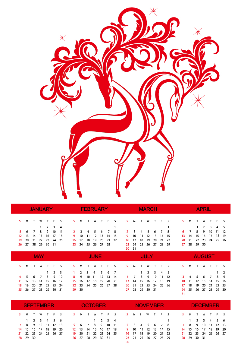 Calendar 2014 Red Elk Vector