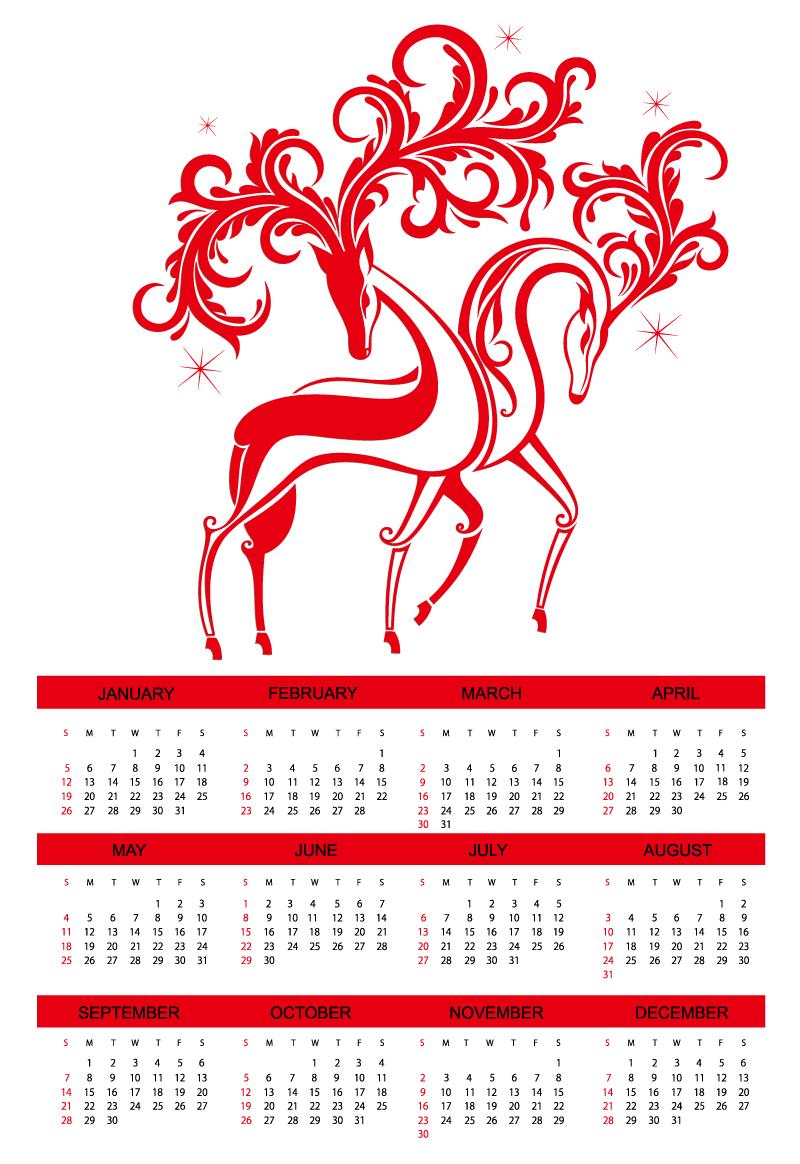 Calendar 2014 Red Elk Vector Download PSD, Vector Ngựa vàng làm thiệp Tết 2013 – Xuân Giáp Ngọ