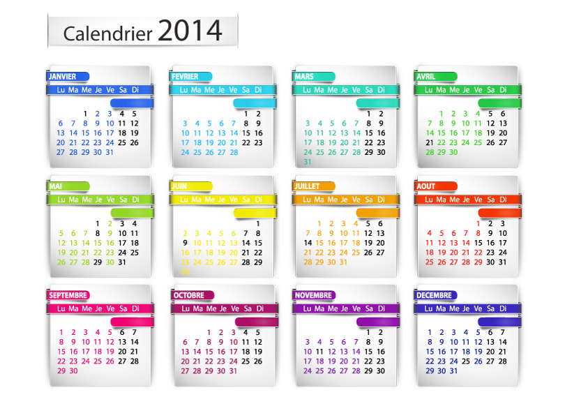 Calendrier 2014 Label Vector