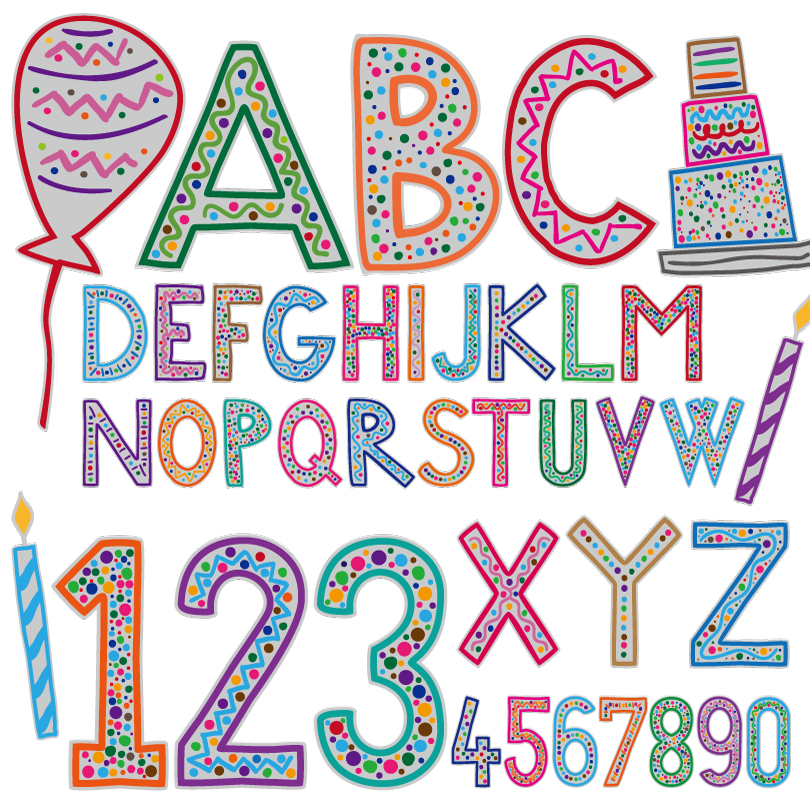 Cartoon Birthday Alphabet Vector