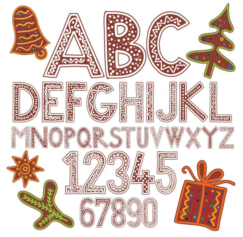 Cartoon Christmas Alphabet Vector