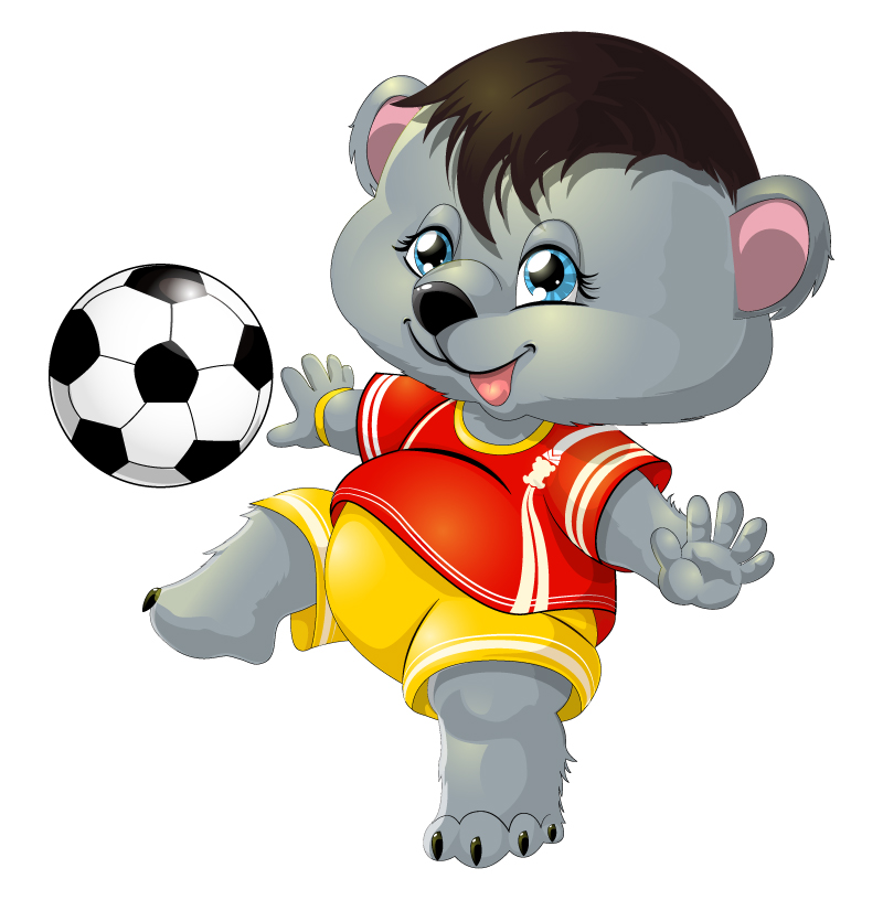 Cartoon Dog with Football Vector