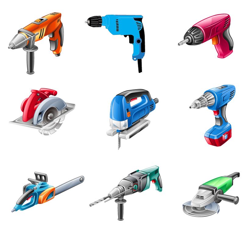 Cartoon Electric Tools Vector