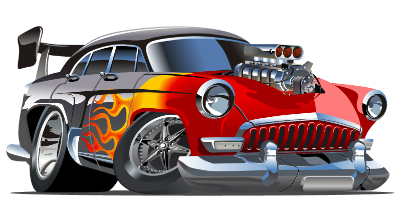 Cartoon Hotrod Car Vector