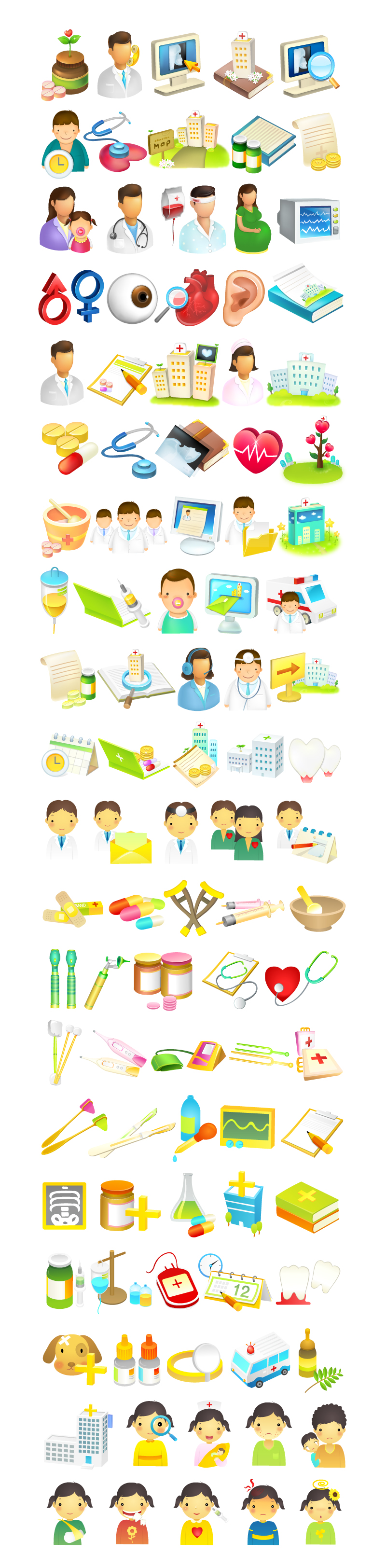 Cartoon Medical Icons Vector