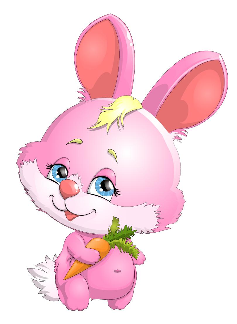 Cartoon Pink Bunny with Carrot Vector