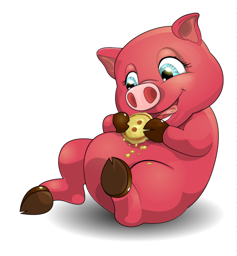 Cartoon Red Pig Vector