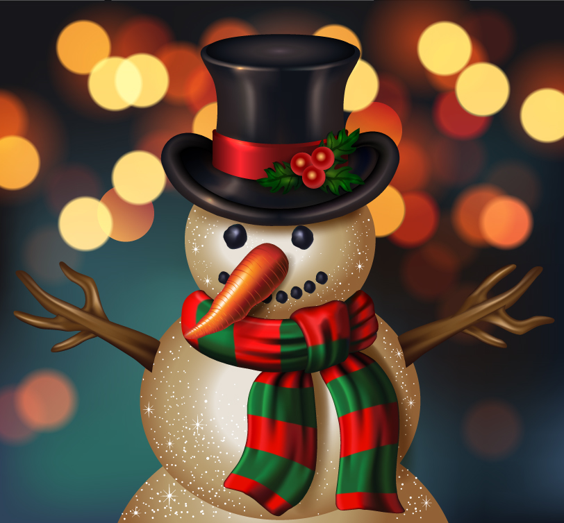 Christmas Ball Snowman Fantasy Background Vector