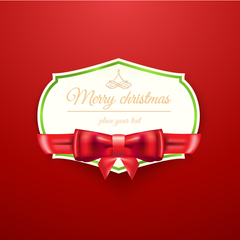 Christmas Bow Text Label Vector