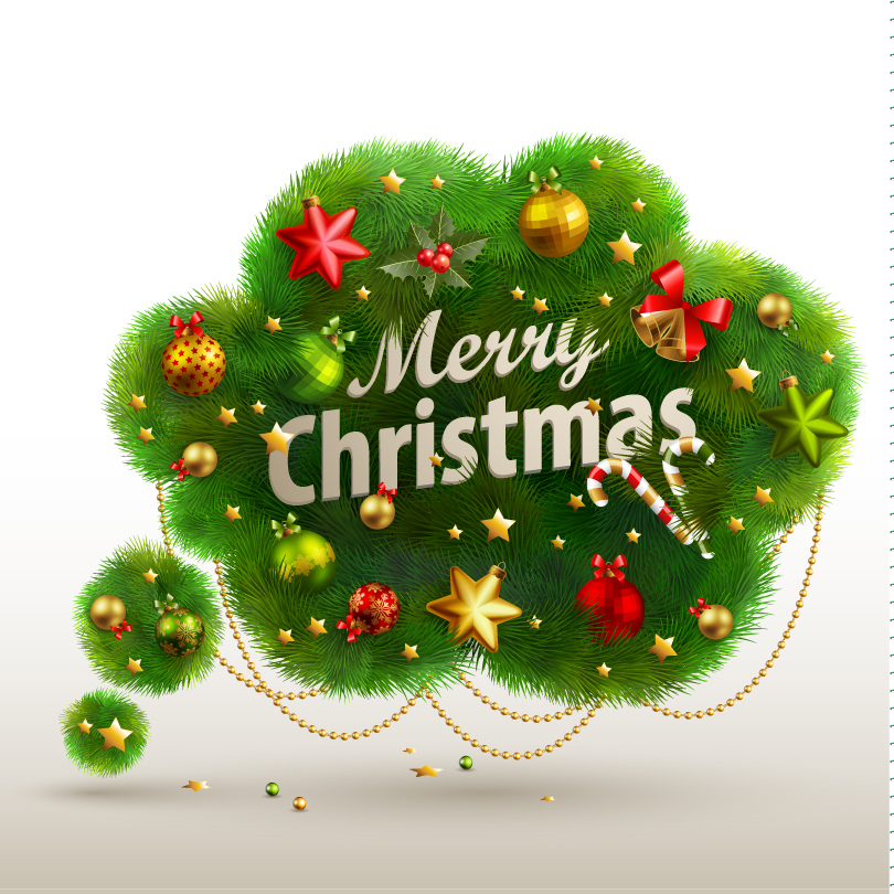 Christmas Pine Bell Xmas Ball Vector