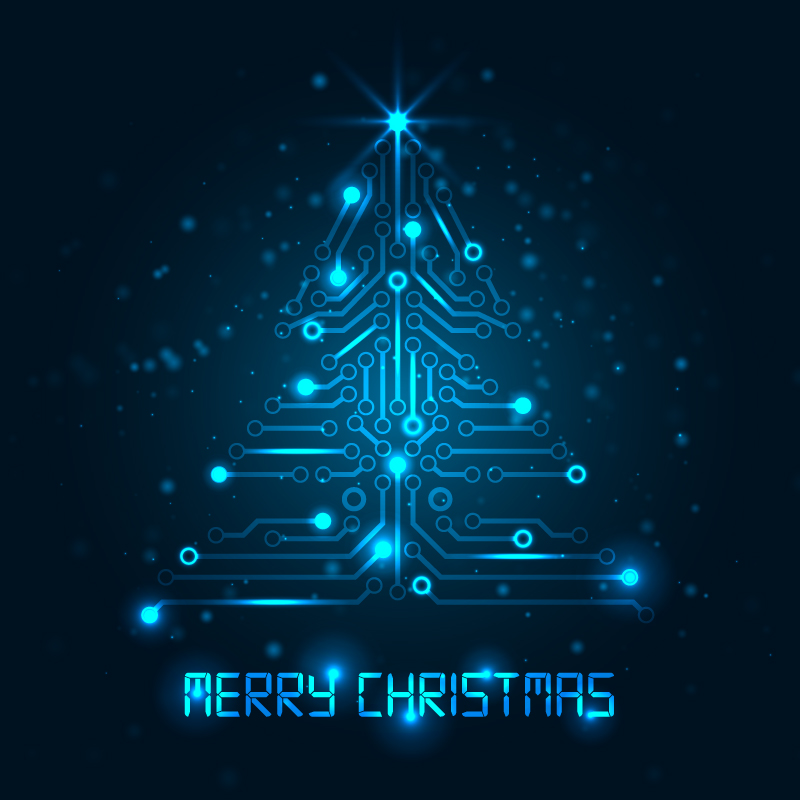 Circuit Board Christmas Tree Vector