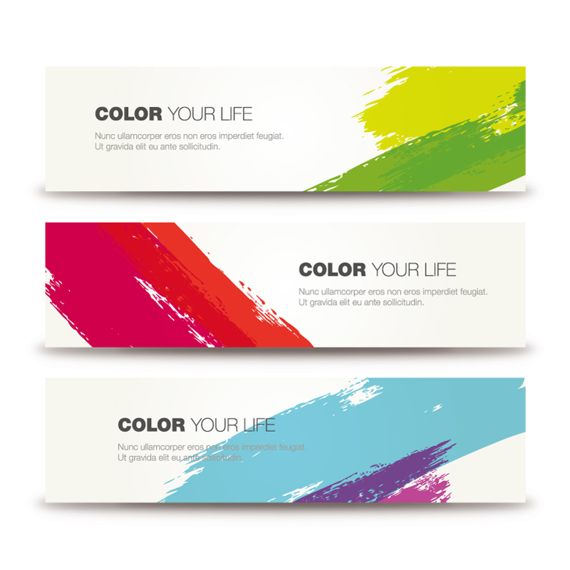 Color Brushes Ink Banner Vector