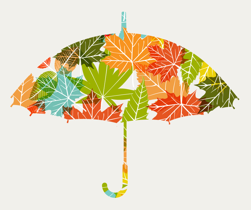 Color Leaf Umbrella Vector