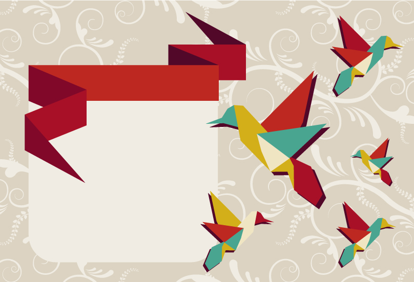 Colorful Cranes Theme Vector