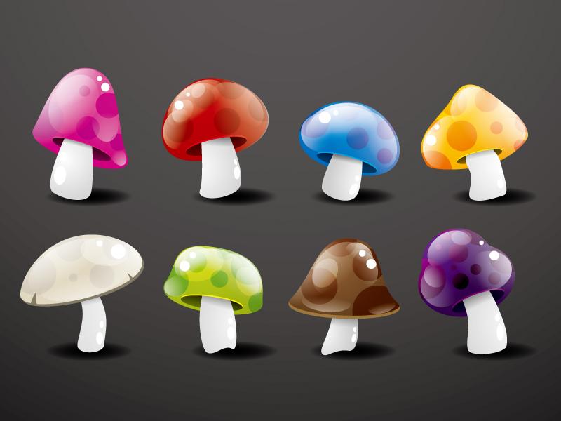 Colorful Crystal Mushroom Vector