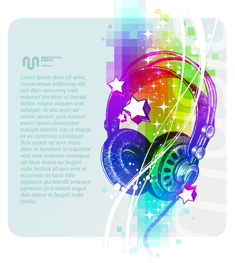 Colorful Headphones Illustrator Vector
