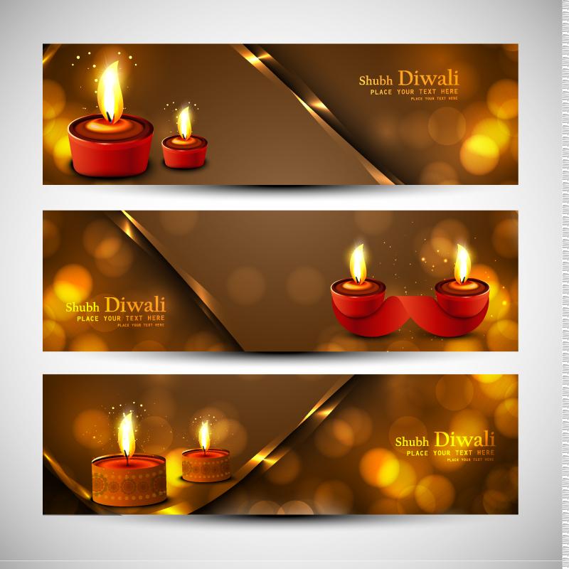 Diwali Lamp Banner Vector