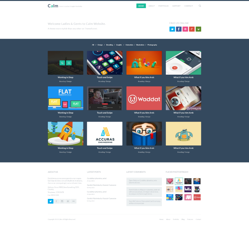 Flat Web Design PSD