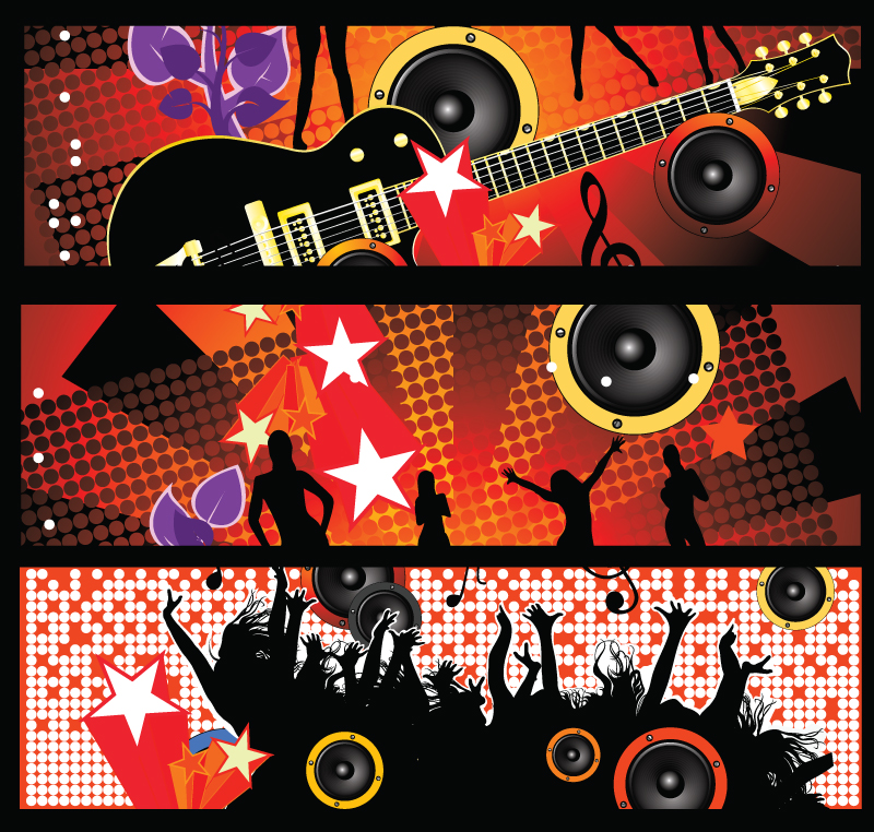 Guitar Dynamic Music Banner Vector