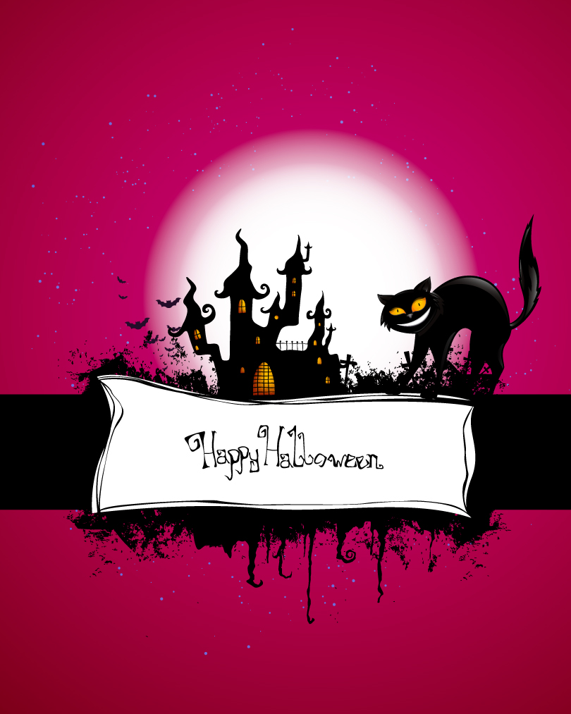 Halloween Black Cat Castle Vector