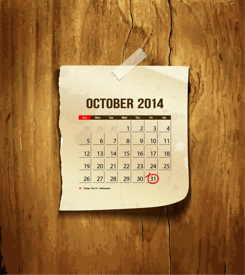 Halloween Calendar 2014 Vector