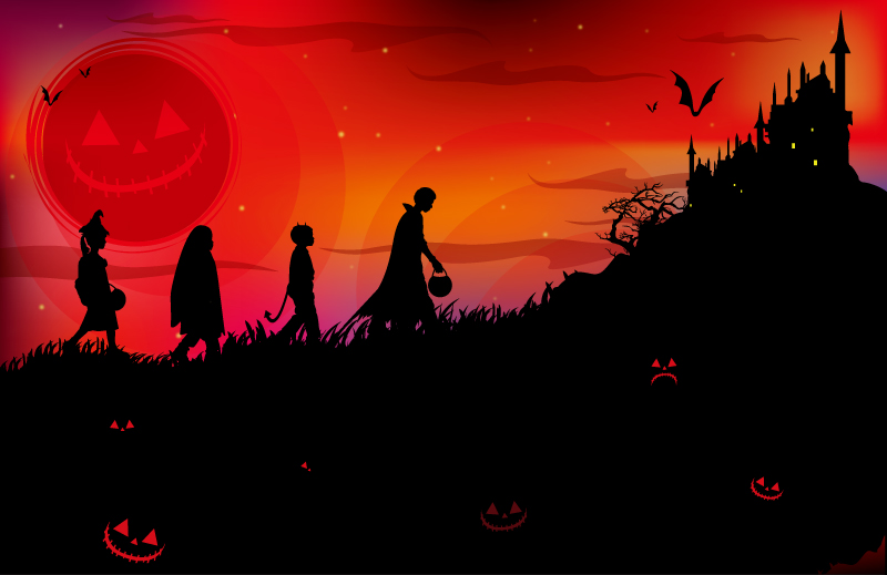 Halloween Children Walk to the Haunted House Vector