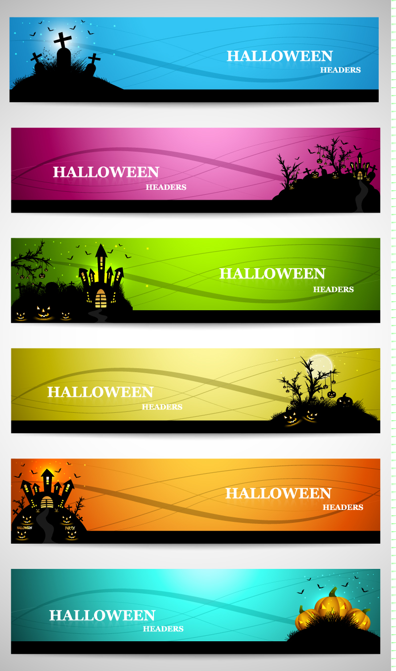 Halloween Headers Banner Vector