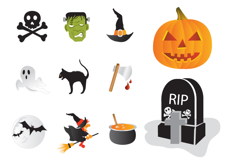 Halloween Horror Elements Icons Vector