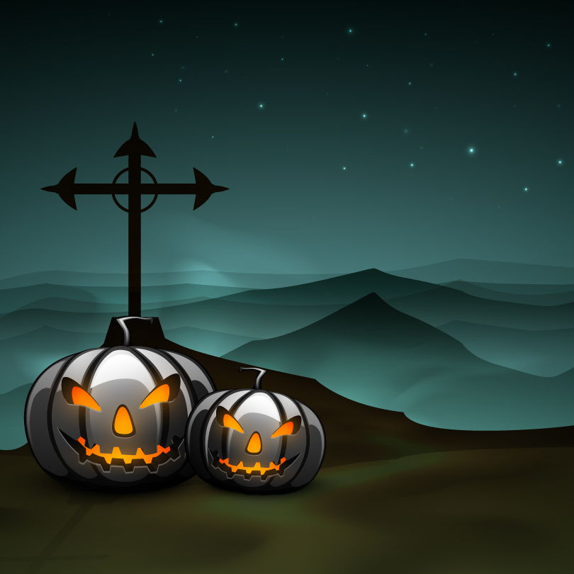 Halloween Mountains Weathervane Vector