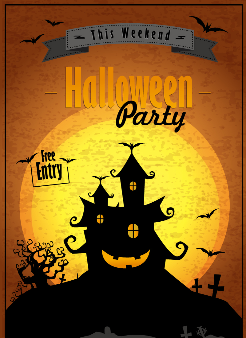 Halloween Party Castle Vector