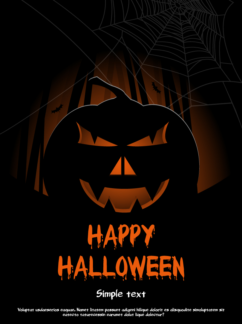 Halloween Pumpkin Spider Web Background Vector