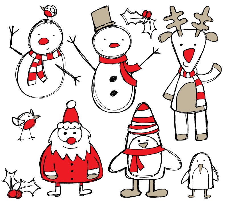 hand drawn christmas design elements vector | free vector graphic