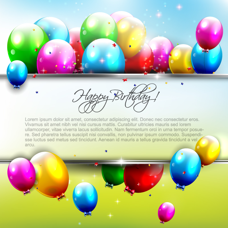 Happy Birthday Color Balloons Vector