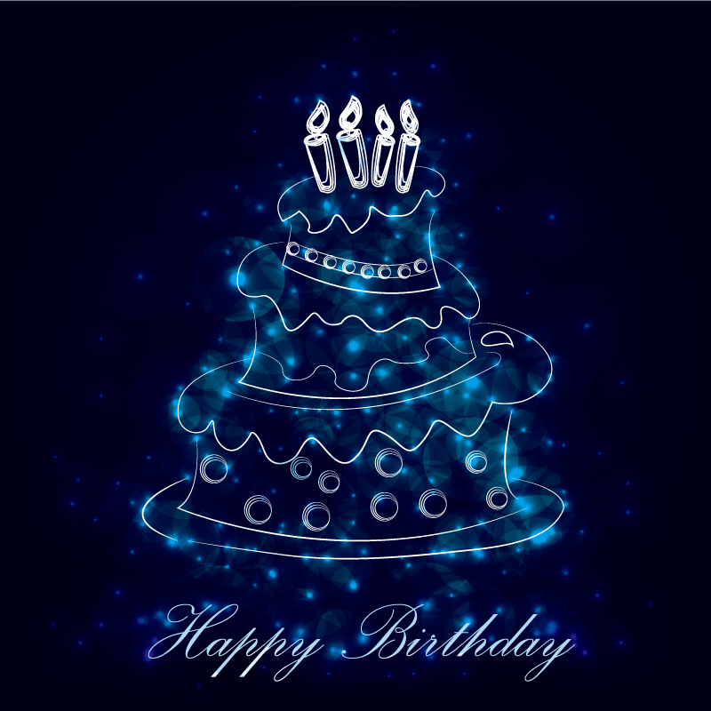 Happy Birthday Dream Line Drawing Cake Vector