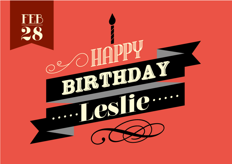 Happy Birthday Leslie Vector