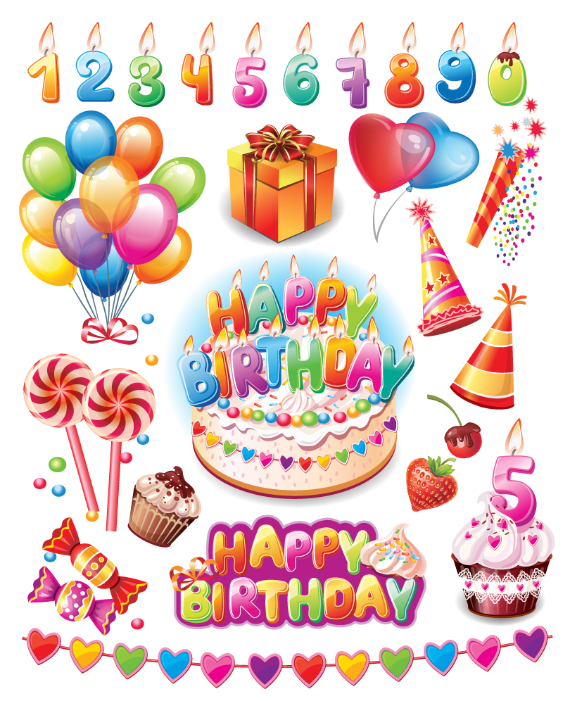 Happy Birthday Party Supplies Vector