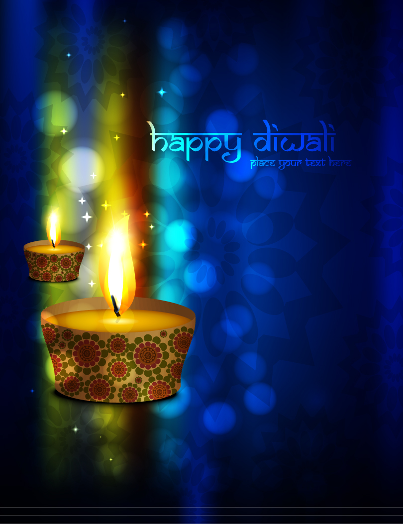 Happy Diwali Candle Vector