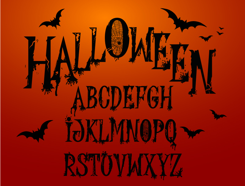 Happy Halloween Alphabet Vector