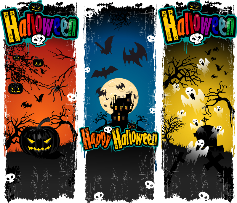 Happy Halloween Fold Banner Vector