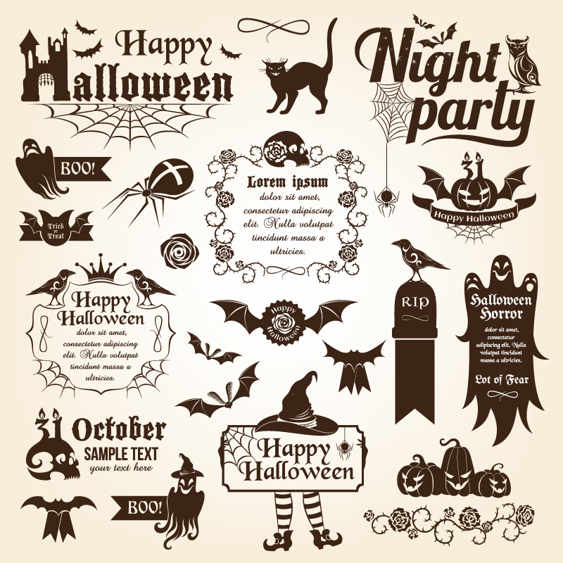 Happy Halloween Night Party Stricker Vector