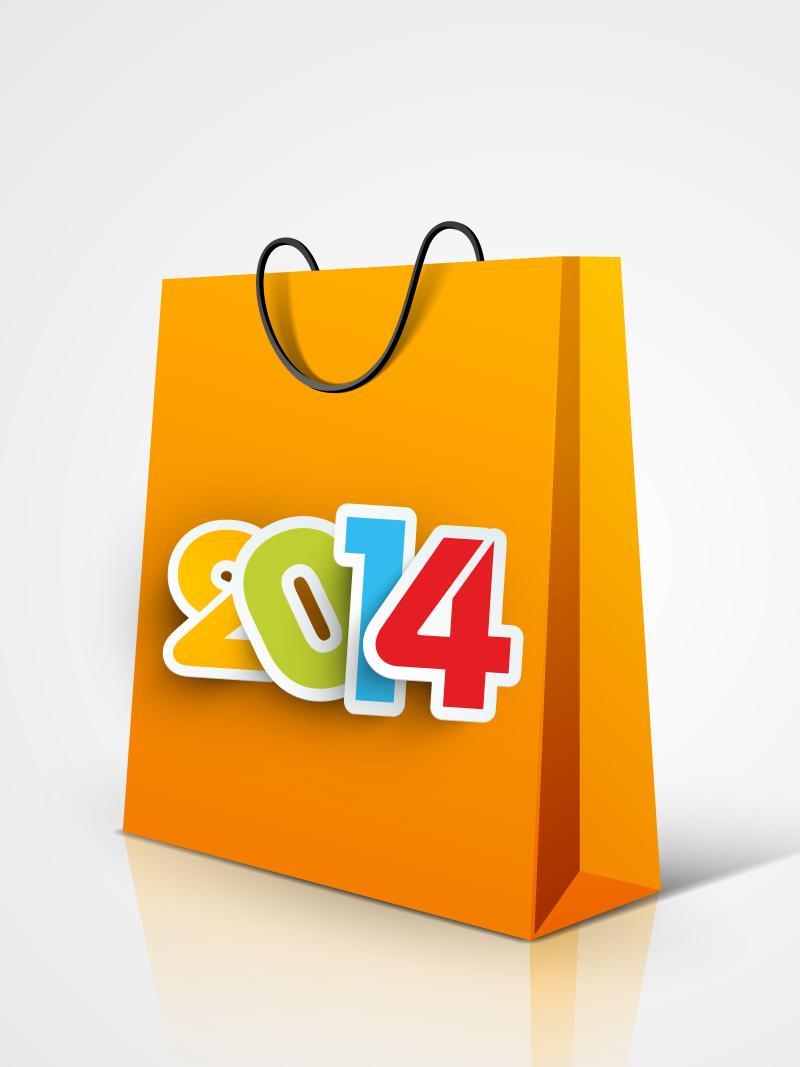 Happy New Year 2014 Handbag Vector