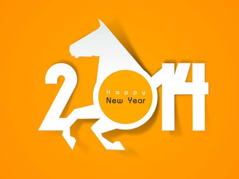 Happy New Year 2014 Horsehead Vector
