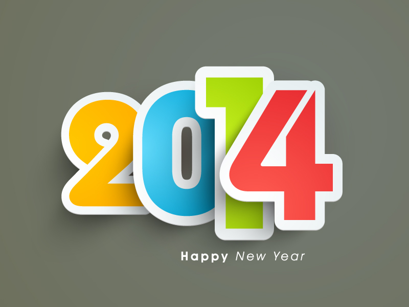 Happy New Year 2014 Stroke Vector