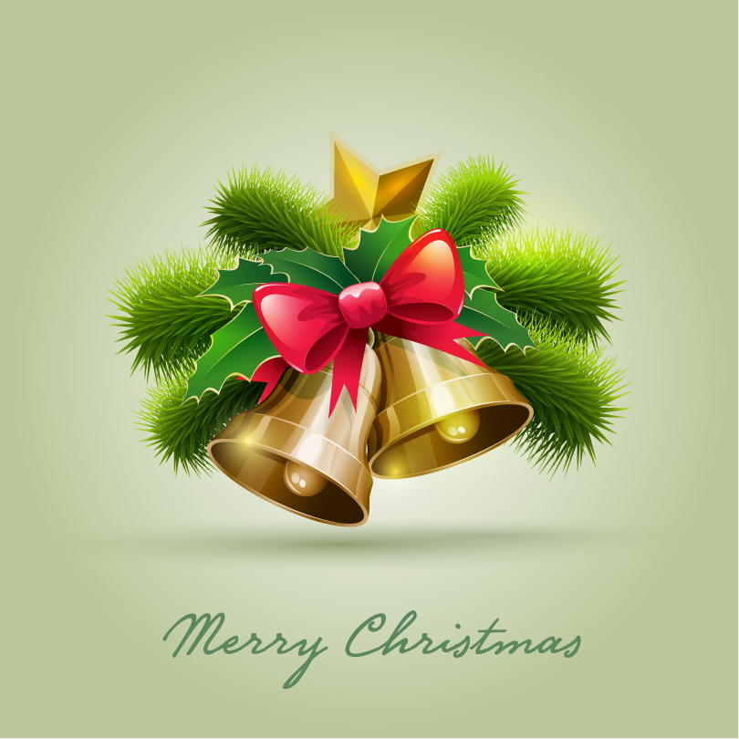 Merry Christmas Bell Pine Bow Vector