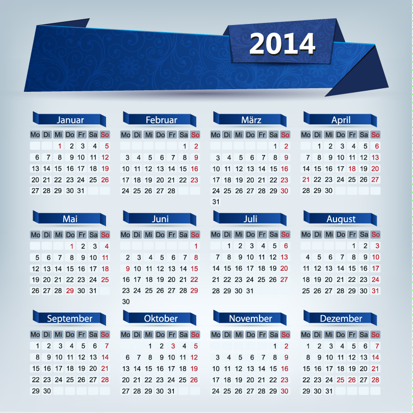 Origami Calendar 2014 Vector Free Download