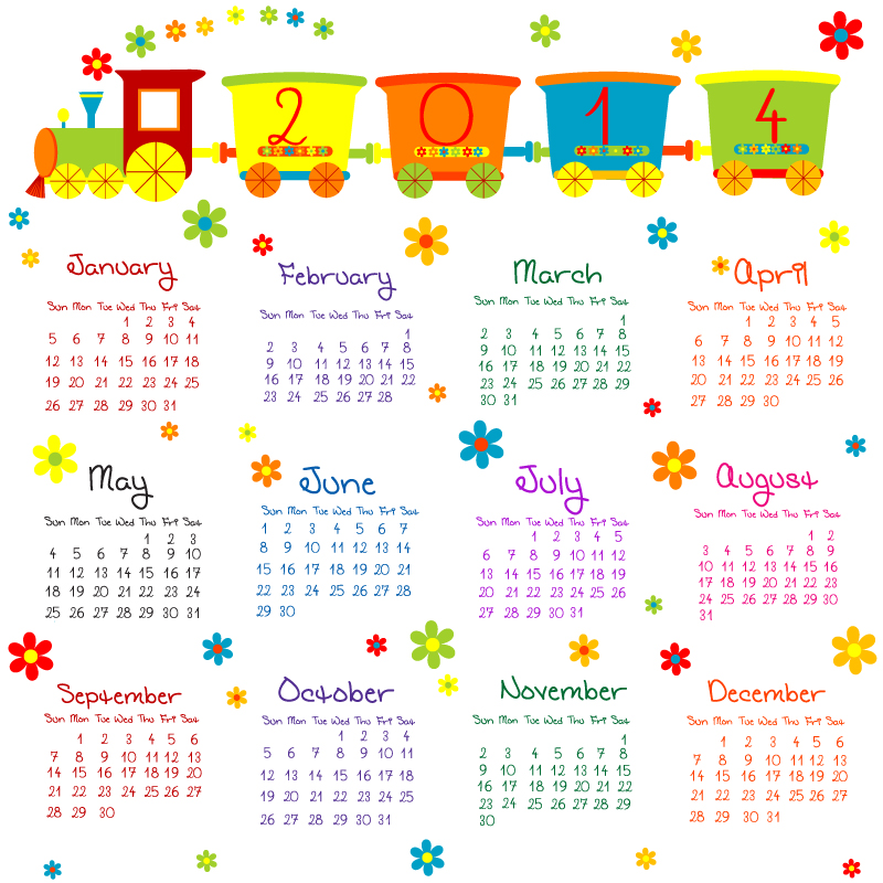 Playful 2014 Calendar Vector